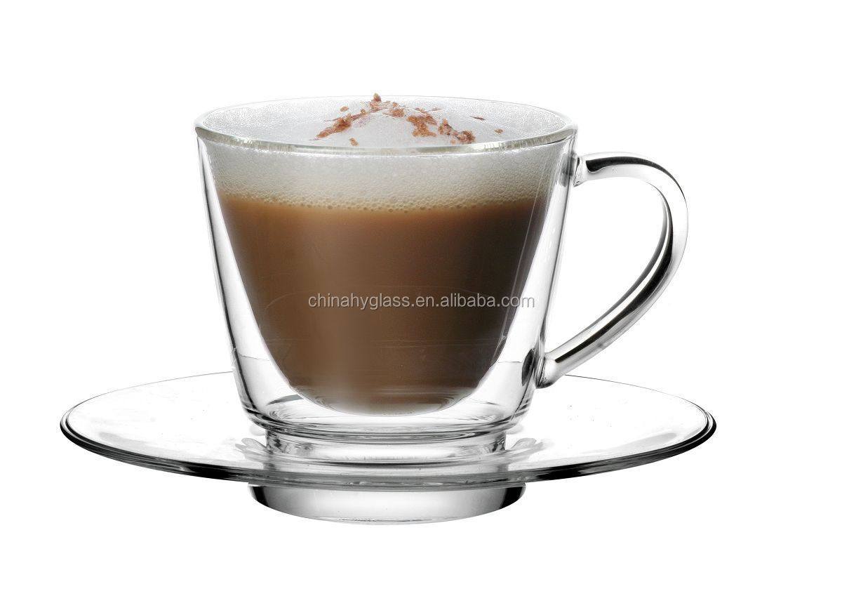 Glass espresso coffee cups uk - Wholesale Hand Shank Coffee Glass Cup Tea Glass Cup Coffee Juice Ice Cream Beer Glass Mugs Buy Clear Light Stocked Double Wall Glass Practical Double