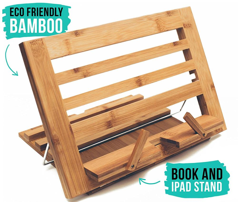 Eco Friendly Bamboo Table Easel Ipad Book Stand Holder For Reading In Bed Adjule