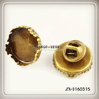 25mm Raw Brass Crown Round Cameo Cabochon Base Setting