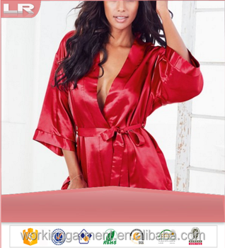 6bdbef0295271 Sexy Large Size Sexy Satin Night Robe Lace Bathrobe Perfect Wedding Bride Bridesmaid  Robes Dressing Gown