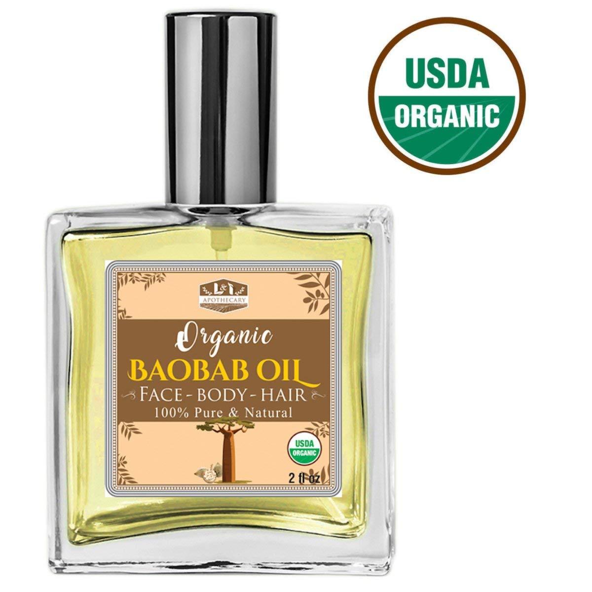 Organic Baobab Luxury Facial & Hair Oil - Excellent Anti-Aging Serum & Moisturizing Properties. Loaded with Natural Essential Antioxidants & Skin Loving Vital Nutrients