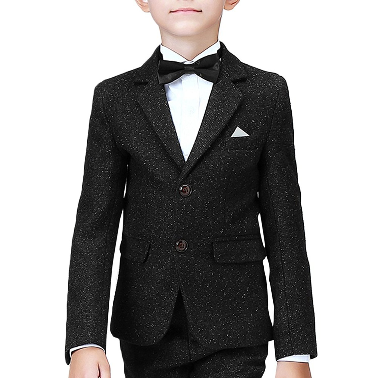 1392aea04 Get Quotations · Boyland Boys Slim Fit Suit Notched Lapel Performance Dress  Suit Black/Royal Navy Blue (