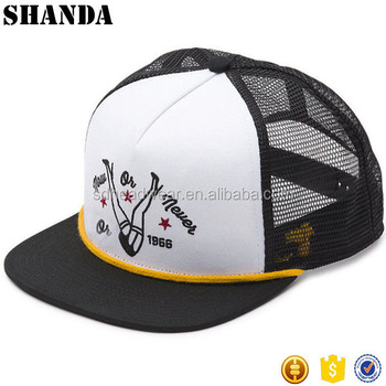 5568ae6dff Flat Bill Snapback Wall Hat Racks Black White Trucker Hat Cap with rope
