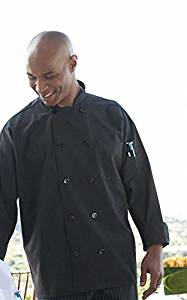 Uncommon Threads Classic Poplin Chef Coat by Uncommon Threads - Black, 6XL by Uncommon Threads
