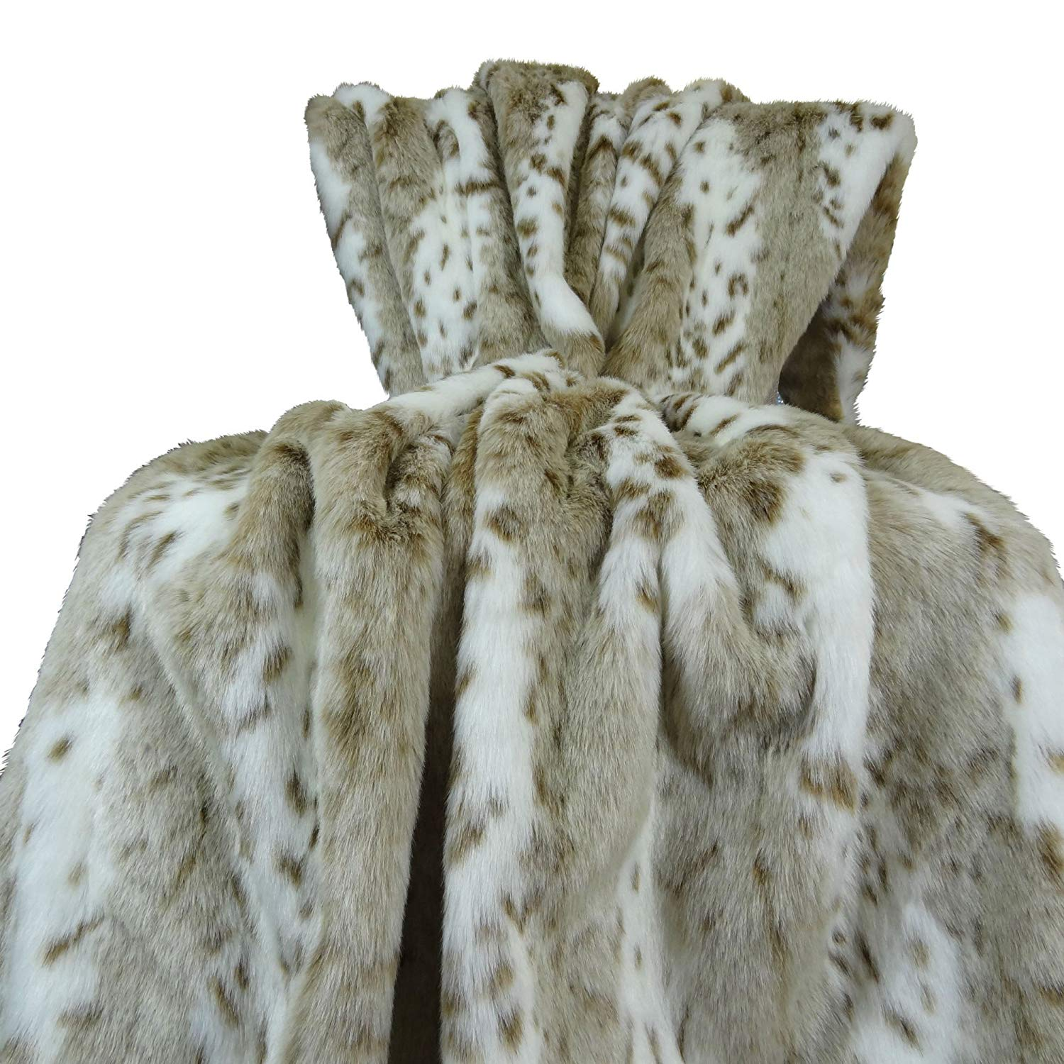 Thomas Collection Luxury white and taupe Siberian Leopard Faux Fur Throw Blanket & Bedspread - White Taupe Siberian Leopard Fur Throw Blanket - White Taupe Faux Fur Blanket, Handmade in US, 16431