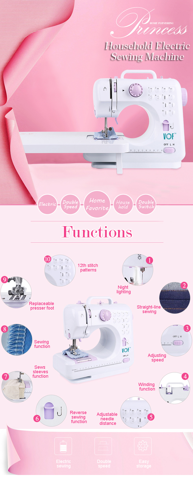 VOF FHSM-505 Kids Sewing Machine for Edging Sewing and DIY Toys