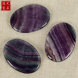 Flat Natural rainbow fluorite crystal carving body scraping plate facial massage for sale