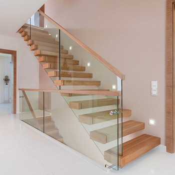Exceptionnel Pine Or Walnut Wood Tread Straight Staircase With Laminated Tempered Glass  Handrail