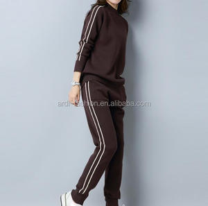 ladies women twinset jogging yoga sport knitted sweater suits