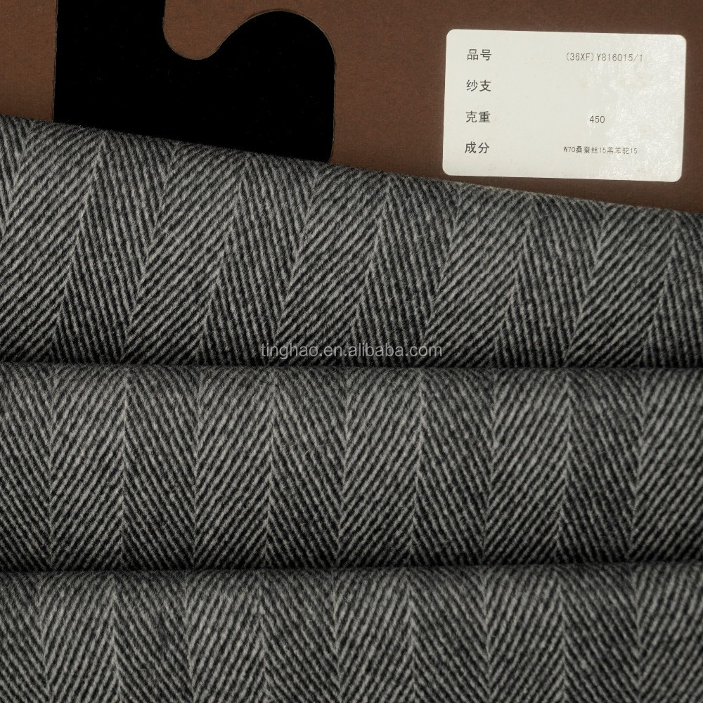 Fine texture wool silk alpaca blend mens suits fabric