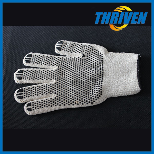 White Winter Used Knitted Cotton PVC Dot Gloves