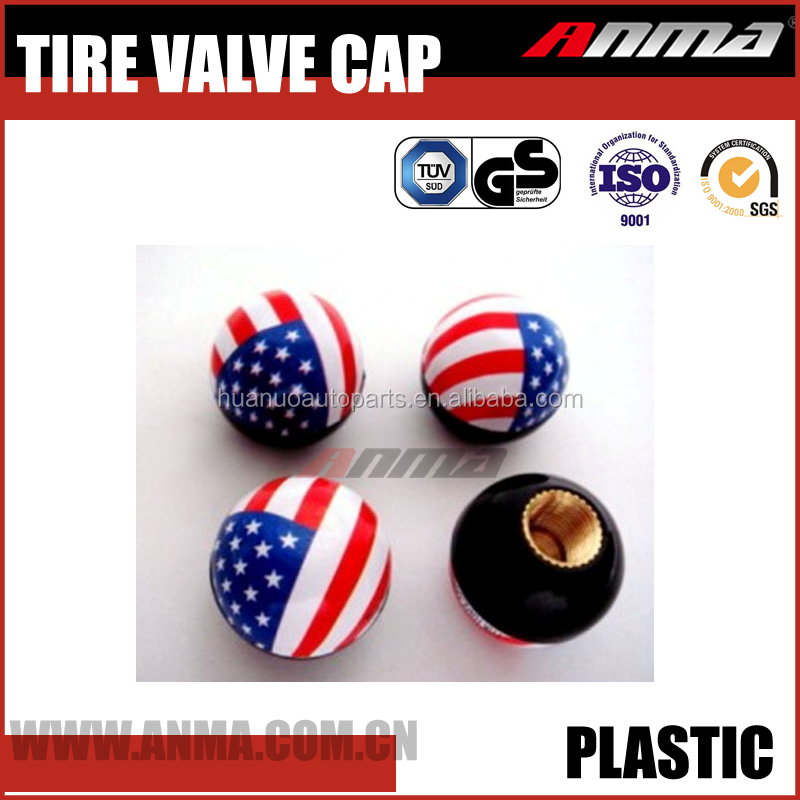 4 pcs set with flag logo Tire valve cap plastic car valve caps
