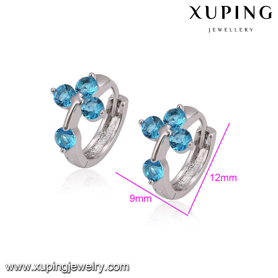 23740 Xuping Channel Earing Earring Diamond Huggies Post