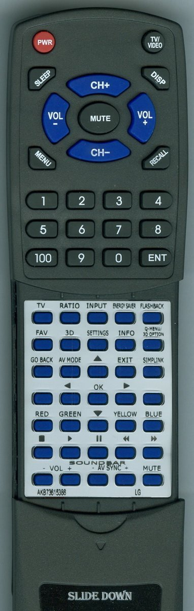 Replacement Remote Control for LG AGF76578735, 47LM4700, AKB73615386, 42LM3700
