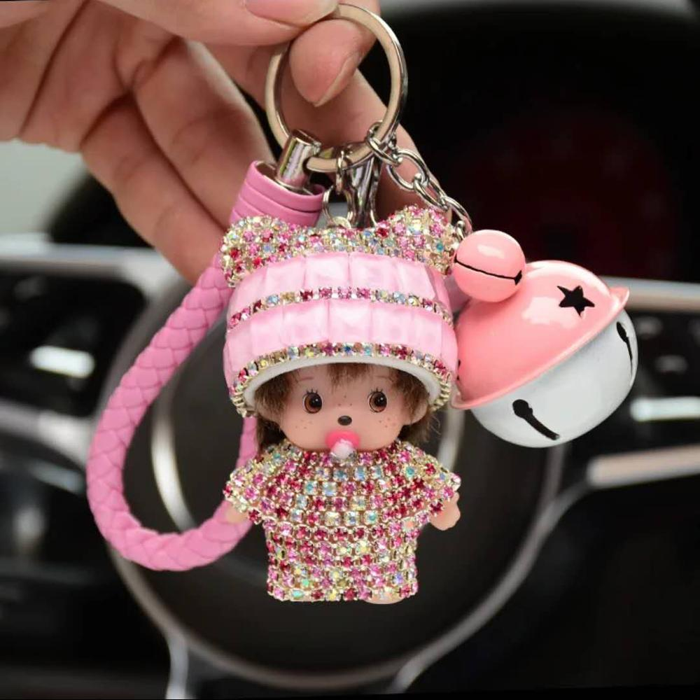 Car Keychains/Key Chains for sale pendant Coloured bell dude car decoration home hang decoration