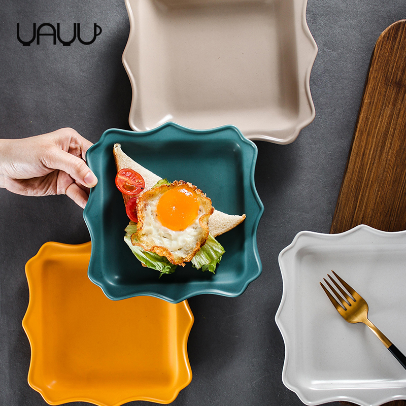 Good price multi-colored square shape shallow popular dinner plates / matte ceramic plate