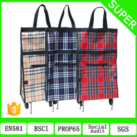 Well -Made folding shopping foldable shopping bag market trolley bag with 2 wheels SP-510A