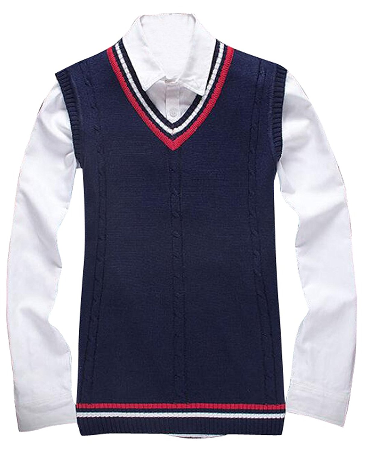 df8f33f34 Get Quotations · Oberora Mens Fashion Contrast V-neck Slim Pullover Knit Sweater  Vest