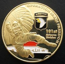 101st AIRBORNE 부 리그 Operation 이라크 자유를 금 Plated top quality coin 도전 Coin