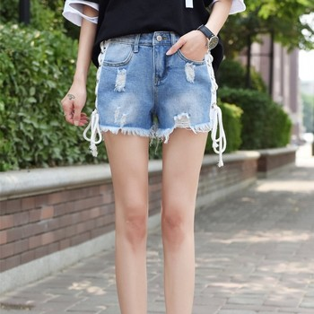Best Selling Ripped Sexy Tight Denim Shorts Women Lace Jeans In Wholesale Price