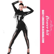 Frauen Langarm Engen PU <span class=keywords><strong>Overall</strong></span> Sexy Kunstleder Catsuit