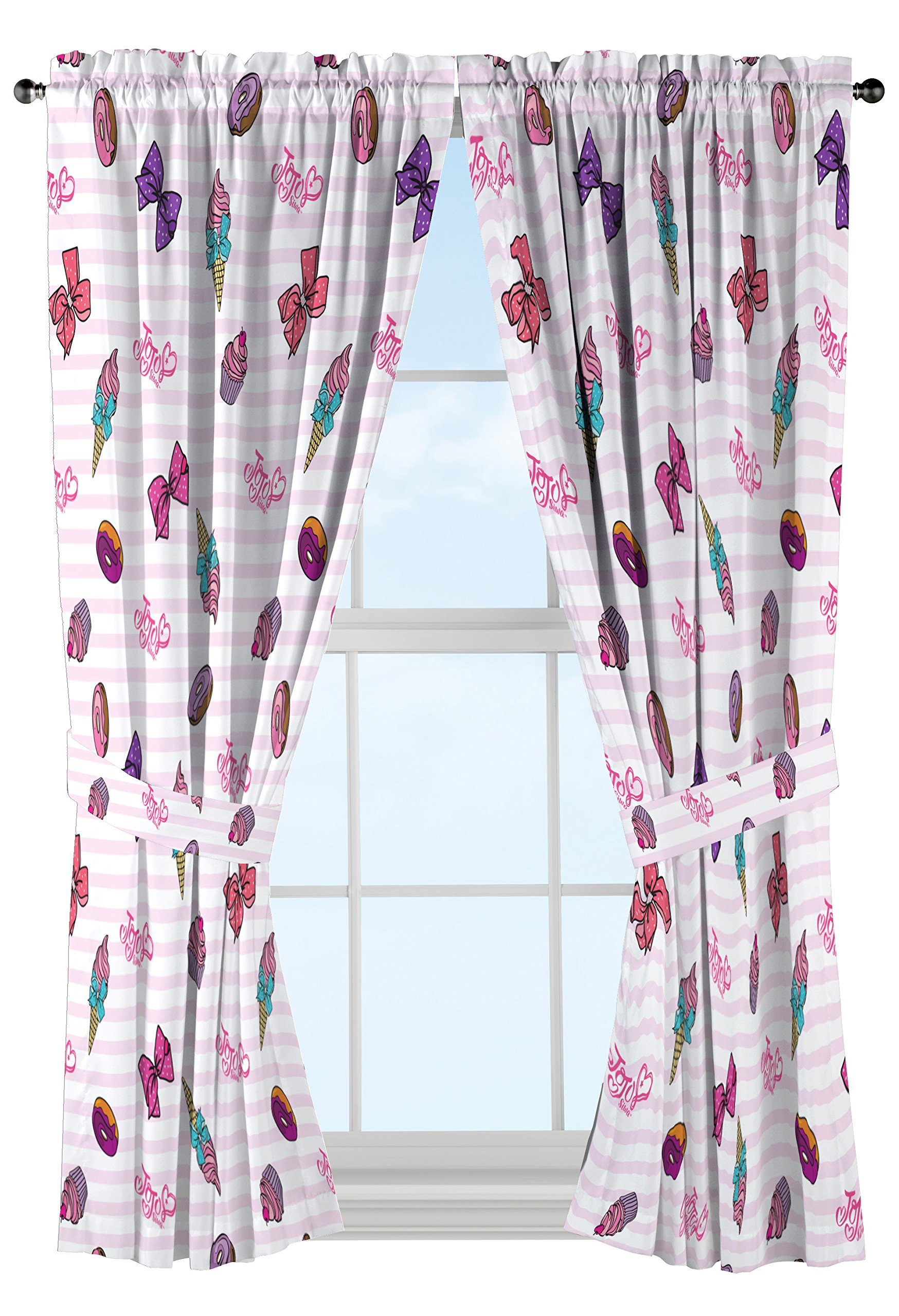 Nickelodeon JoJo Siwa Sweet Life Pink/White Curtain Set (2 Panels, 2 Tiebacks), Sweet Drapes, 4 Piece