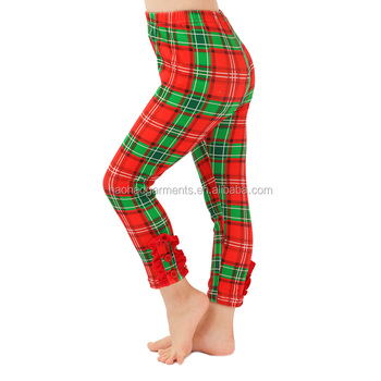 wholesale red green plaid ruffle girls stretchy pants kids christmas leggings with button baby clothing set