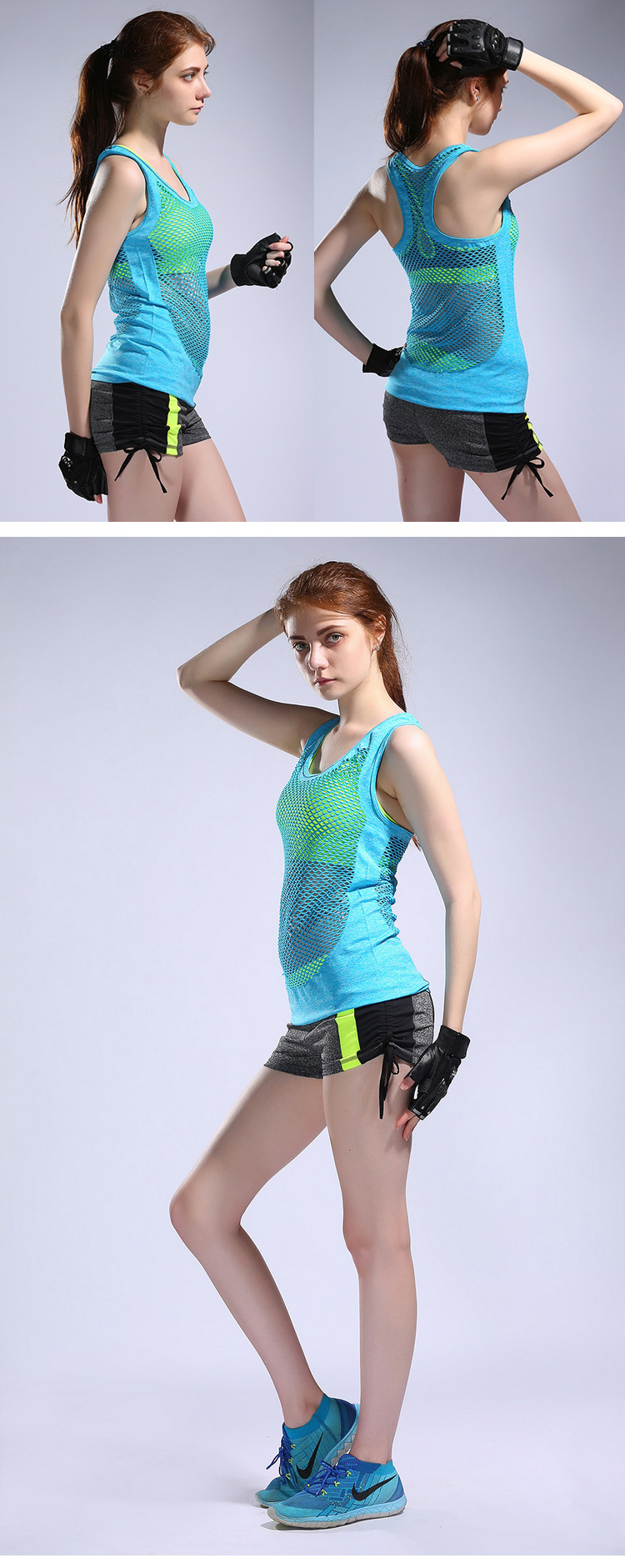 Summer Girls Mesh Sports and Fitness Tank Top Quick Dry Yoga T-Shirt Sweat-absorbent Camilose