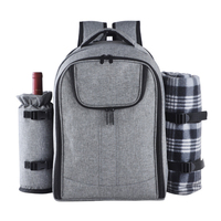 Picnic Set Backpack Bag for 4 with Cooler Compartment,Detachable Bottle/Wine Holder Including Large Picnic Blanket