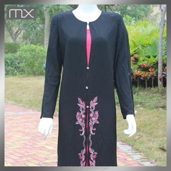 Dubai Ladies Full Sleeves Black Kebaya Muslim Modern Embroidery