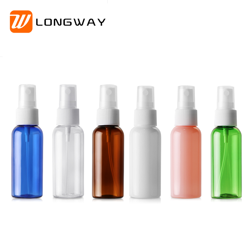 50ml colorful PET plastic cosmetic fine facial mist spray bottle with spray mist cap for personal care toner packaging