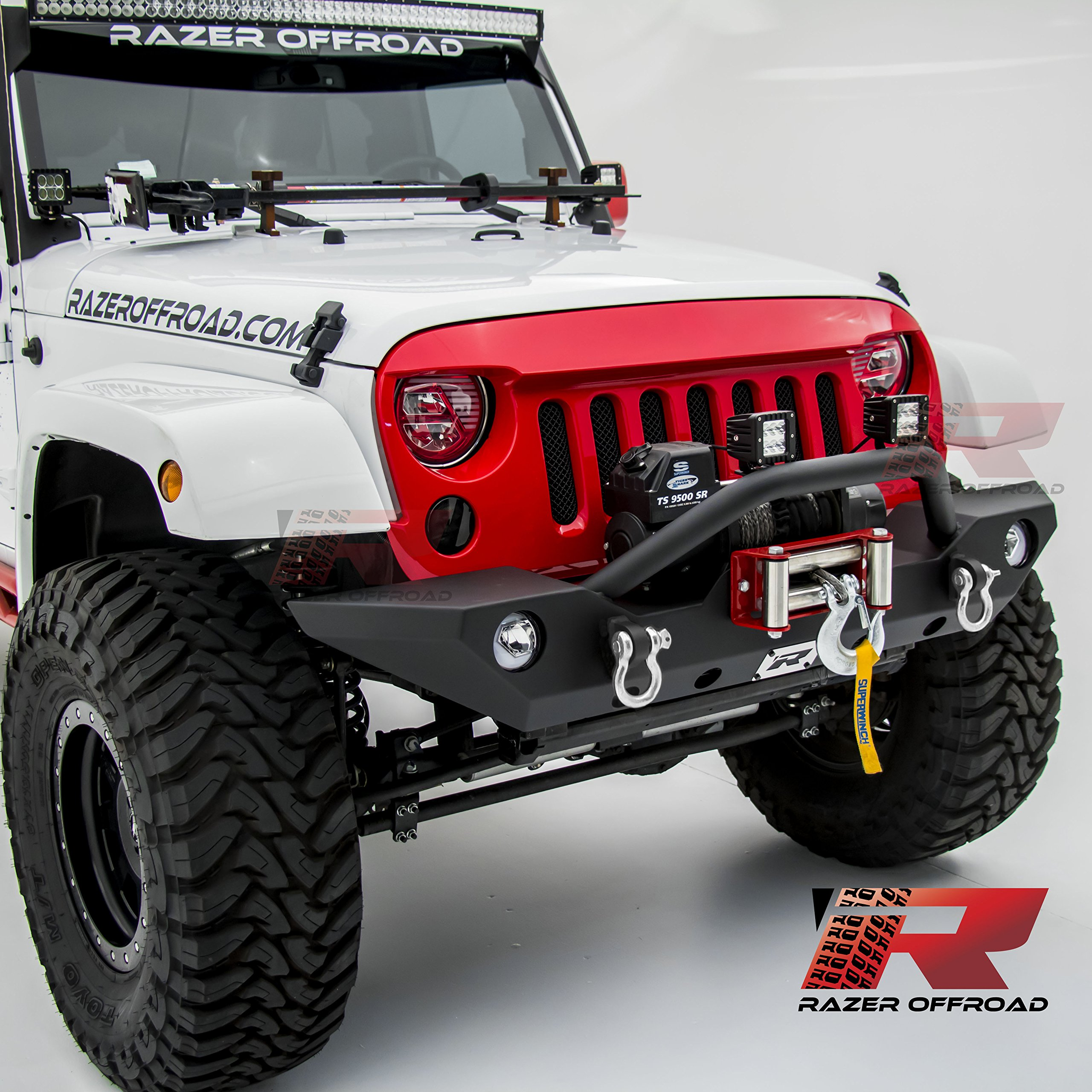 Razer Auto Black Textured Rock Crawler Front Bumper with OE Fog Light Hole, 2x D-Ring and Built-In Winch Mount Plate for 07-17 Jeep Wrangler JK