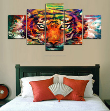 5 Panel Canvas Animal Wall Art Tiger Home Office Decoration