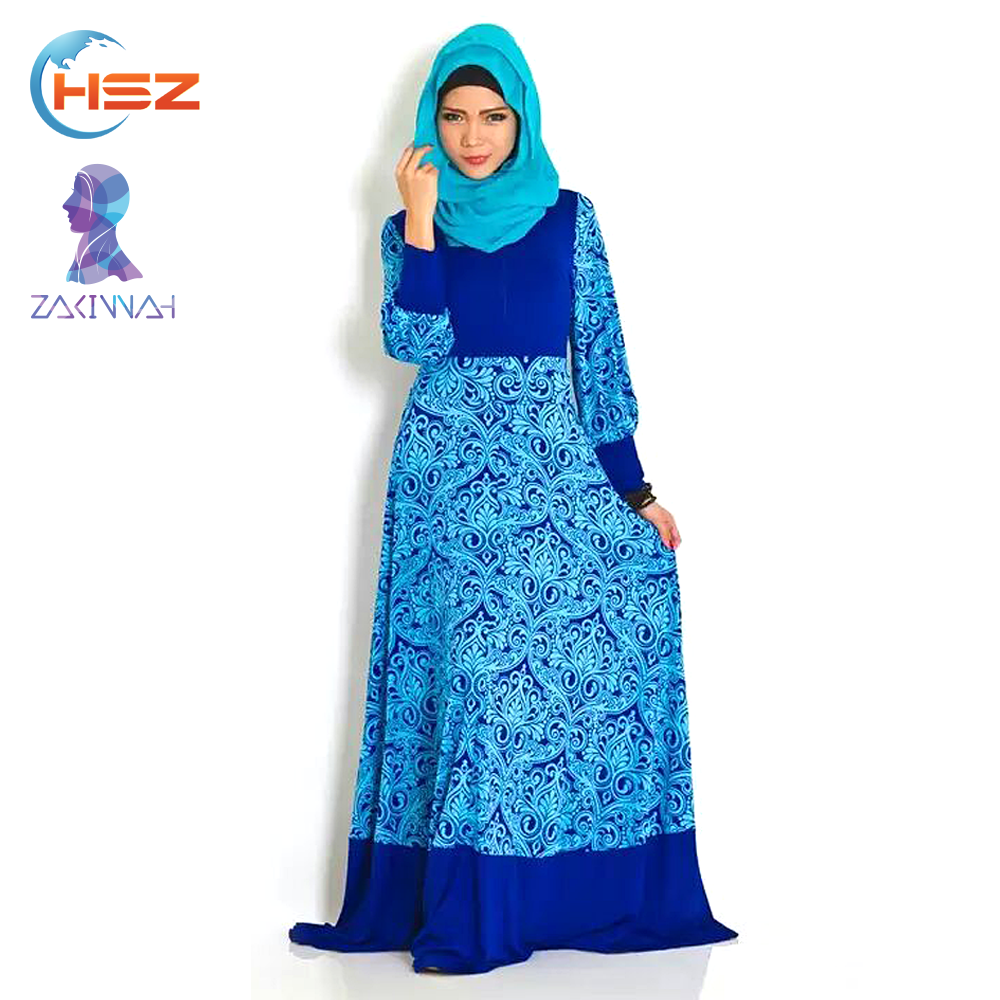 Zakiyyah 10025 Best-selling Bodycon Muslim Dress African Silk Kaftan w ith Good Offer Indian Long Maxi Digital Print Dress