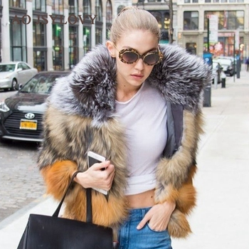Wholesale Winter Casual Style Women Ladies Color Natural Real Fox Fur Coat
