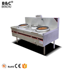 Stainless Steel 2 Burner 1 Warmer Chinese Style Cooking Range / Restaurant Kitchen Gas Chinese Cooking Stove for Sale