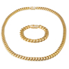 14MM 30 Inches Gold Filled Micro Pave CZ Stainless Steel Cuban Necklace Chain Bracelet Set