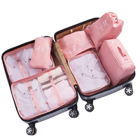 7 Piece Set Traveling Luggage Packing Cubes Pouch, Clothes Organizer, drawstring cosmetic bag