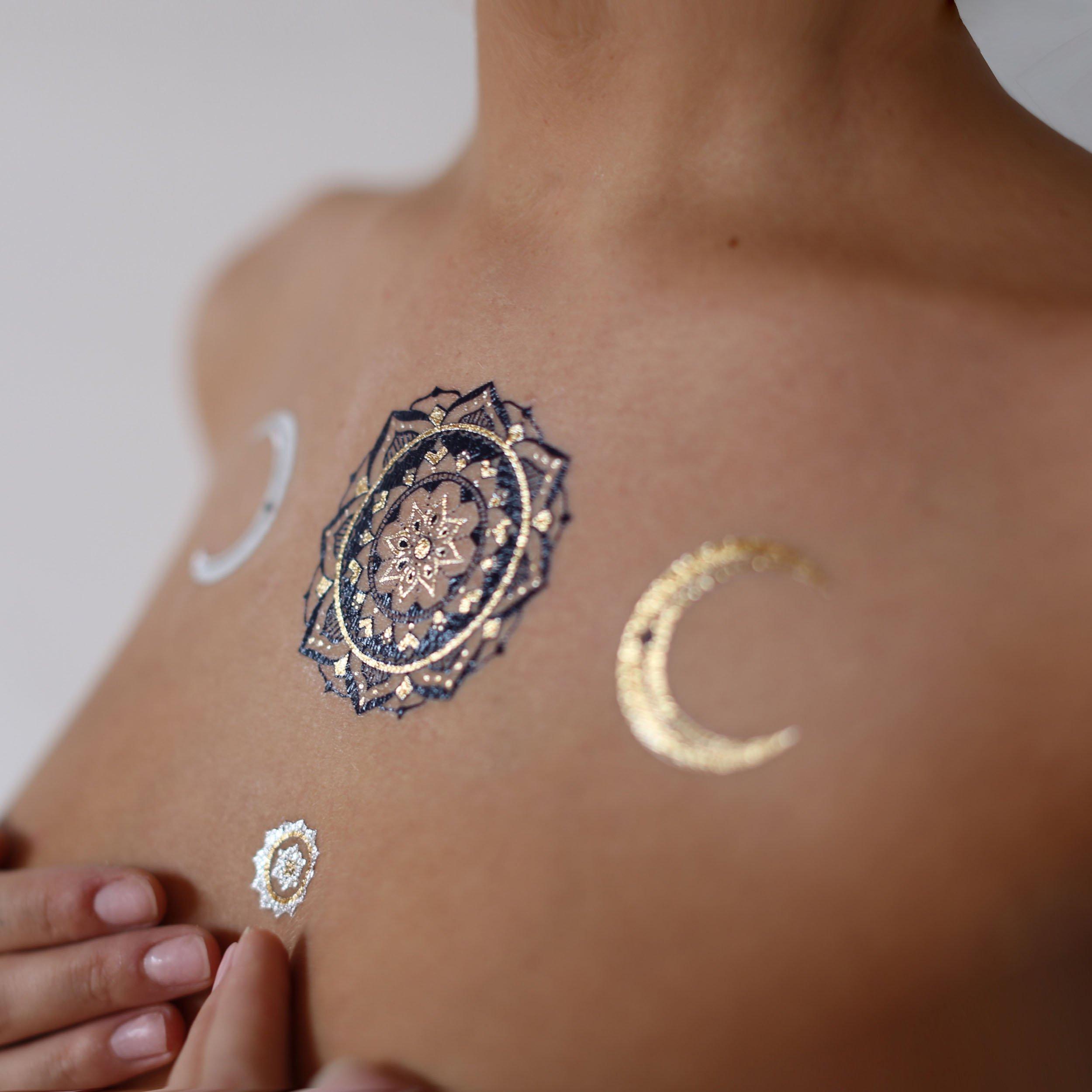 126210dc373d2 TribeTats Yoga-Inspired Premium Metallic Tattoos - Full Variety Set | 150+  Henna Inspired