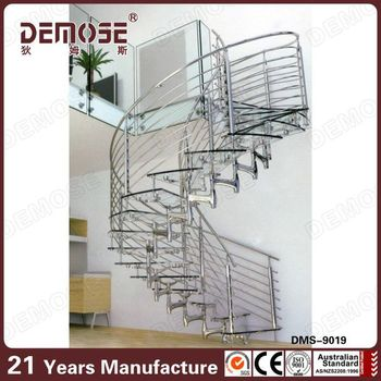 Modern Stainless Steel Curved Stair / Circular Staircases