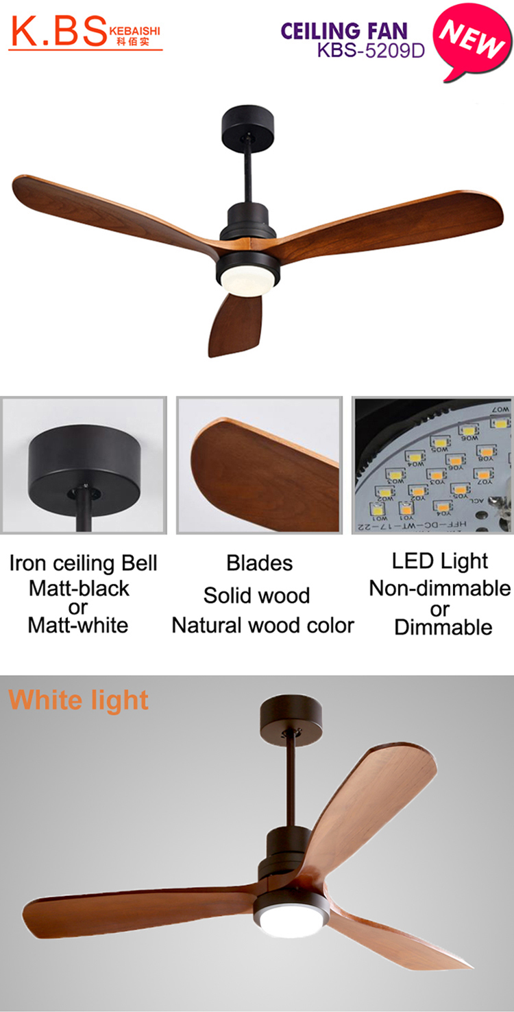New Arrival Modern Natural Wood Color Blade Decorative LED Ceiling Fan Light
