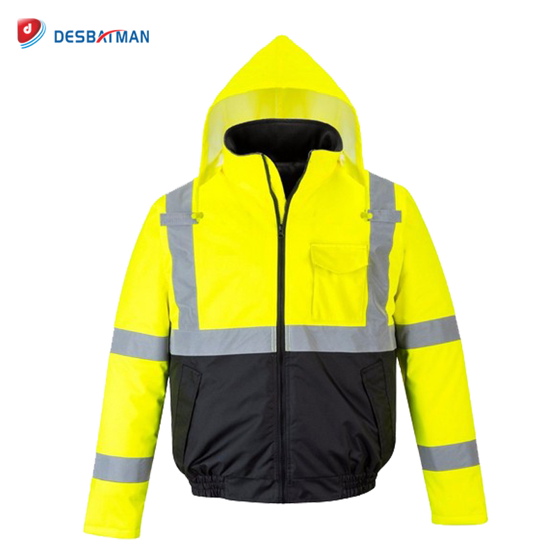 Hi Vis Safety Rain Waterproof Jacket Reflective Warm Hood Coat Padded with Pockets Full Zipper