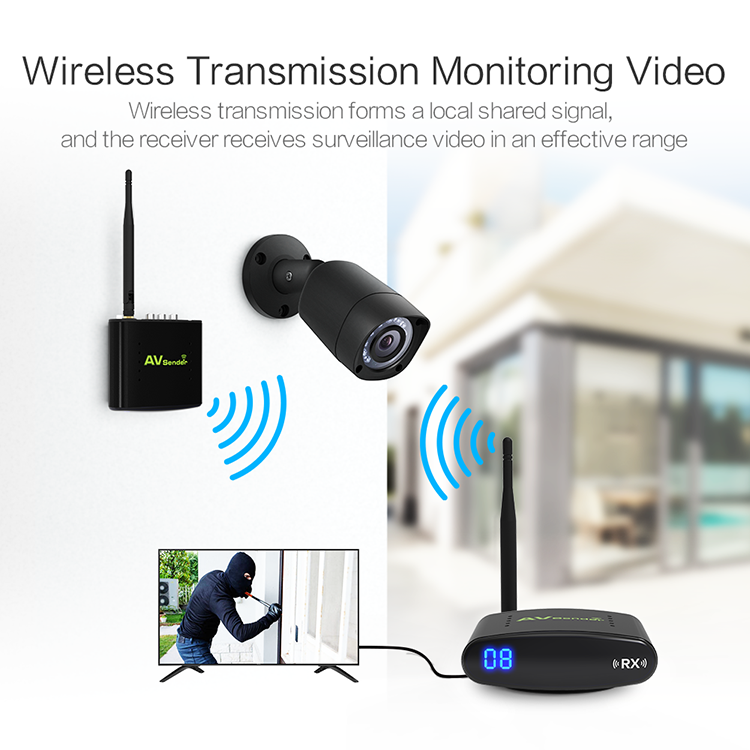 Long Distance 300m 480p 2.4Ghz  Wireless Video Transmitter Receiver with IR remote control 433khz  for CCTV Camera PAT-365