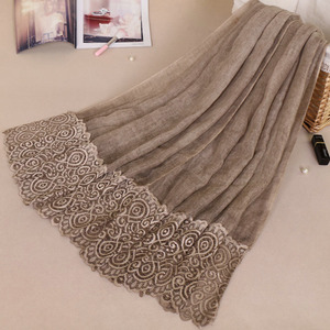 New Cotton Solid Color Muslim Hijab Shawl Women Long Fashion Lace Scarf