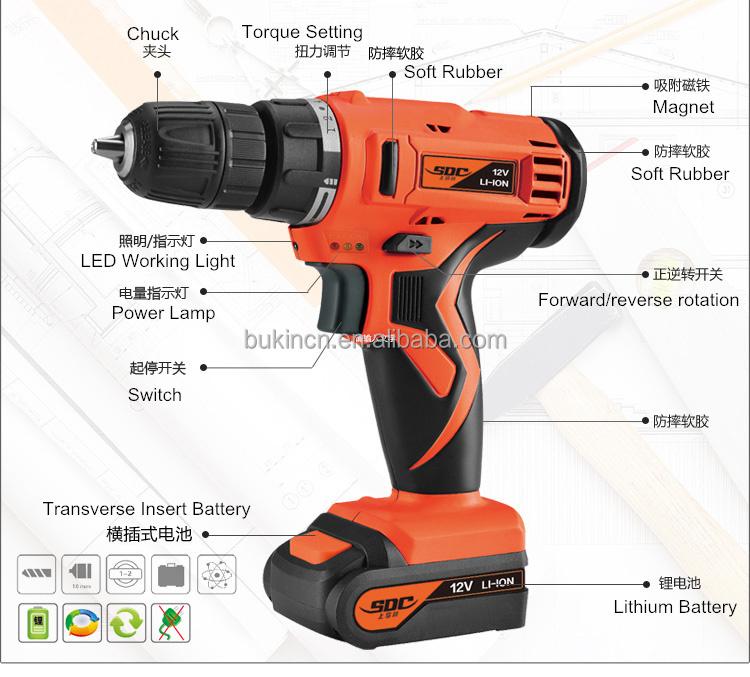 100% New Model Gardener Tools 10.8v/12v Li-ion Cordless Hand Drill ...