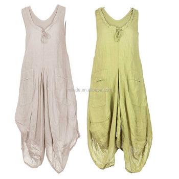2b91948d66b layering look 100% Linen Dress LONG Sleeveless Ribbed Scoop Neck Slit  Pocket Tulip Style Lagenlook