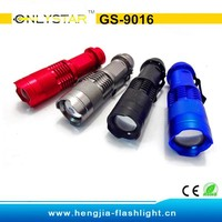 GS-9016 CREE Q5 230LM most powerful mini telescopic carabiner chinese led flashlight