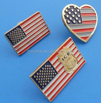 Usa Flag Lapel Pins,Heart Shape Us Flag Collar Pin Badges