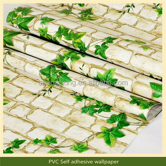 Brick grain decor PVC 3d wallpaper murals For restaurant decoration
