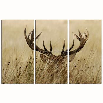 3 Panel Wall Decor Deer Stag Wall Art/home Decor Decoration Animal ...